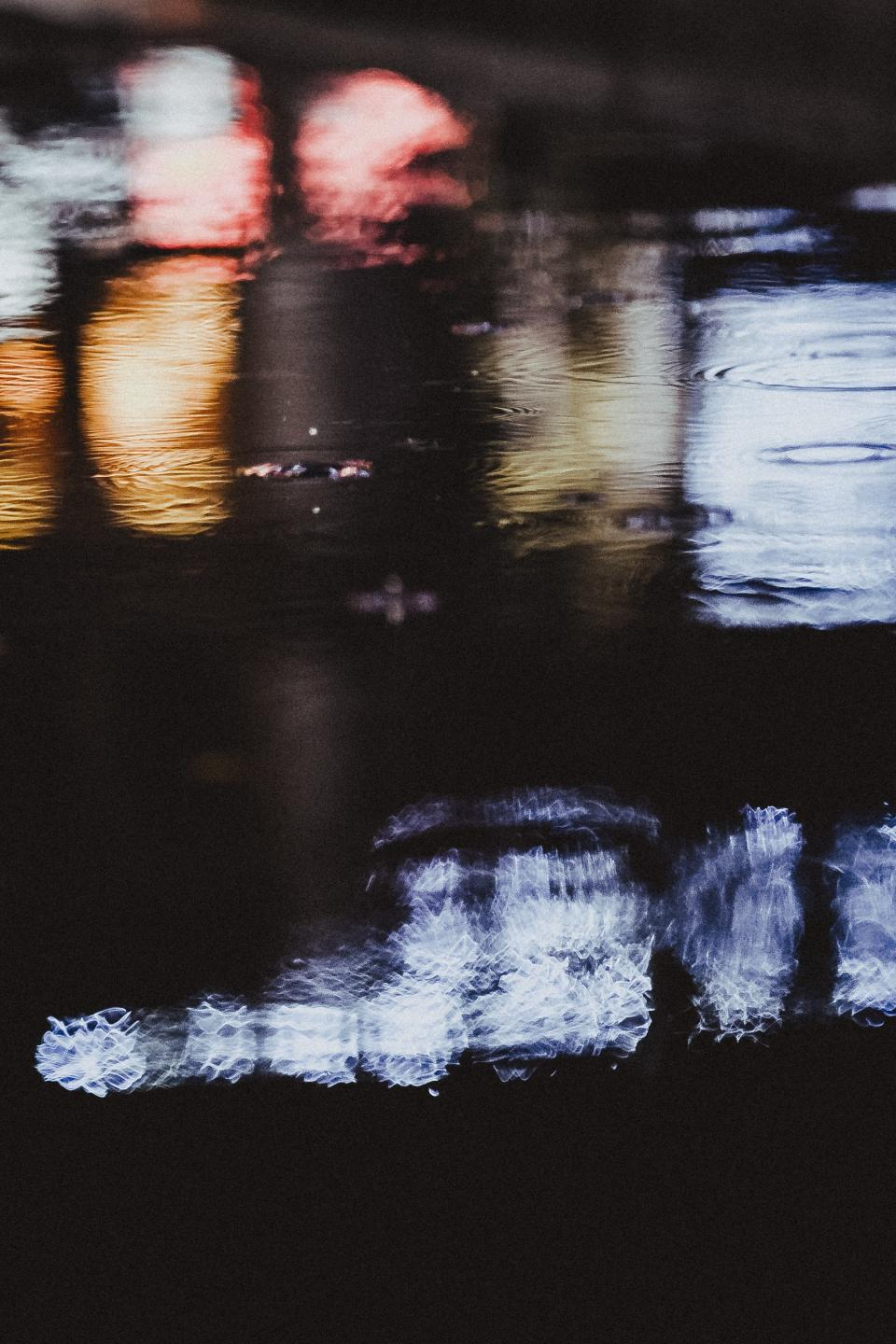 water, drops, liquid, dark, night, raining, nature, lake, lights, reflection
