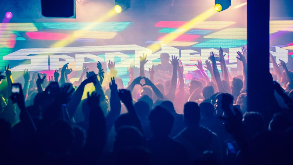 people, man, woman, party, celebration, concert, lights, dj, performance, crowd, happy, hands, heart