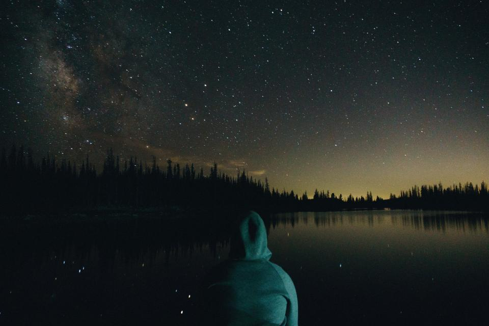 dark, night, sky, stars, lake, water, trees, plant, people, man, alone, thinking, sad