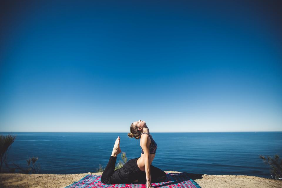 yoga, fitness, exercise, health, working out, pose, girl, woman, people, blue, sky, water, ocean, sea, lake, sunshine, summer