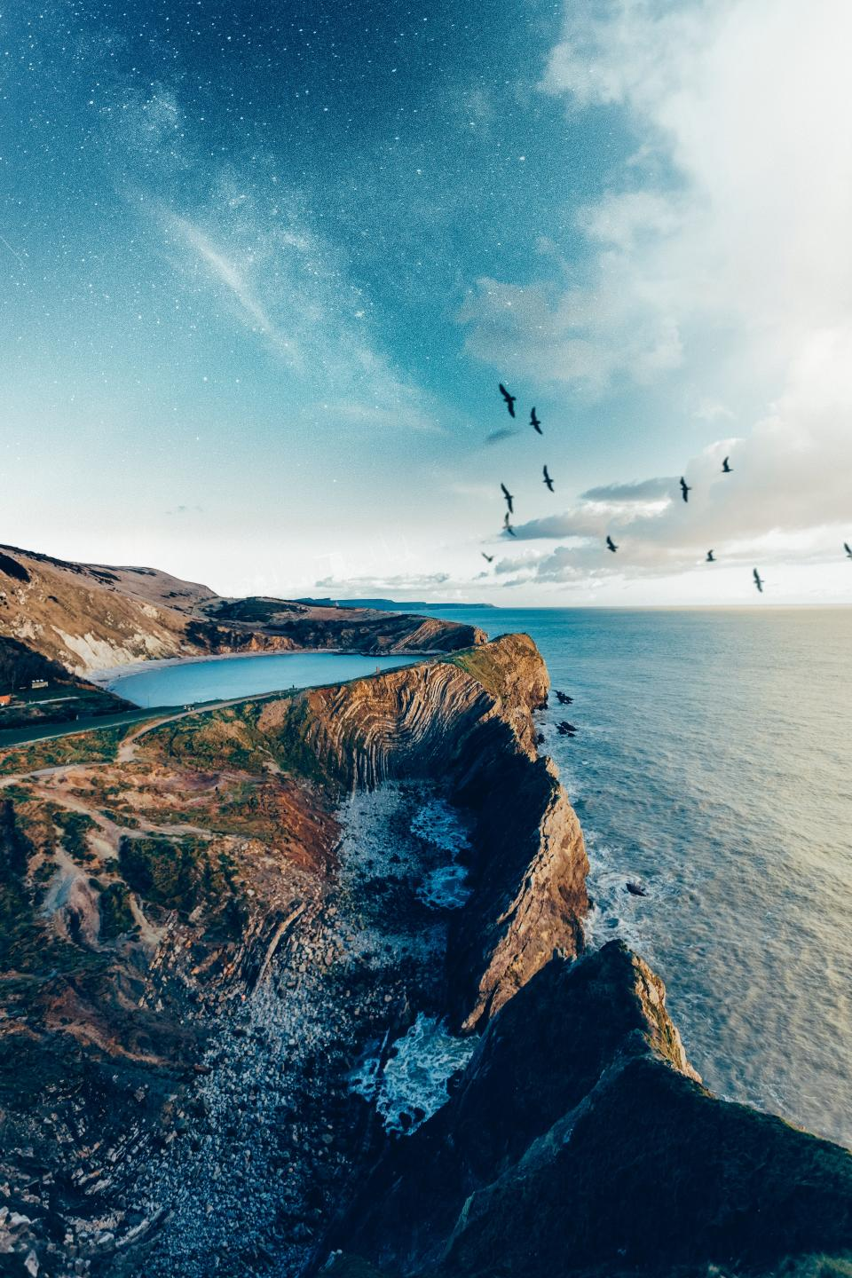 sea, ocean, water, waves, nature, blue, lagoon, clouds, sky, hill, mountain, highland, landscape, sky, stars, clouds, birds, animal, flying