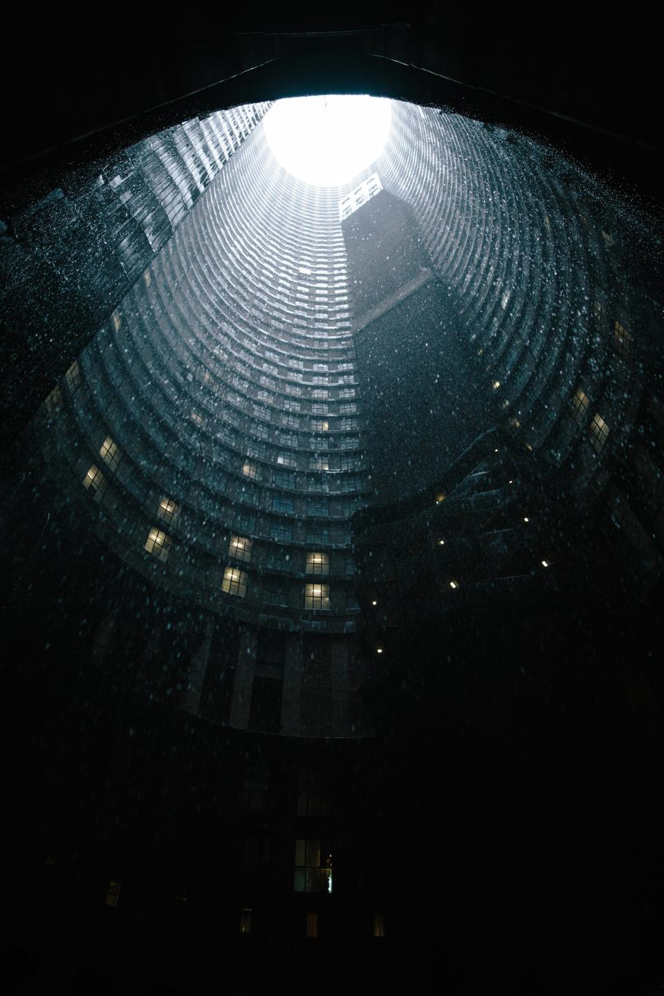 architecture, building, infrastructure, skyscraper, tower, dark, rain, raining