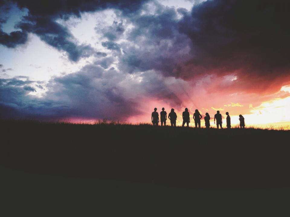 mountain, highland, dark, cloud, sky, sunset, peak, landscape, nature, valley, people, travel, friends, bond, family, silhouette