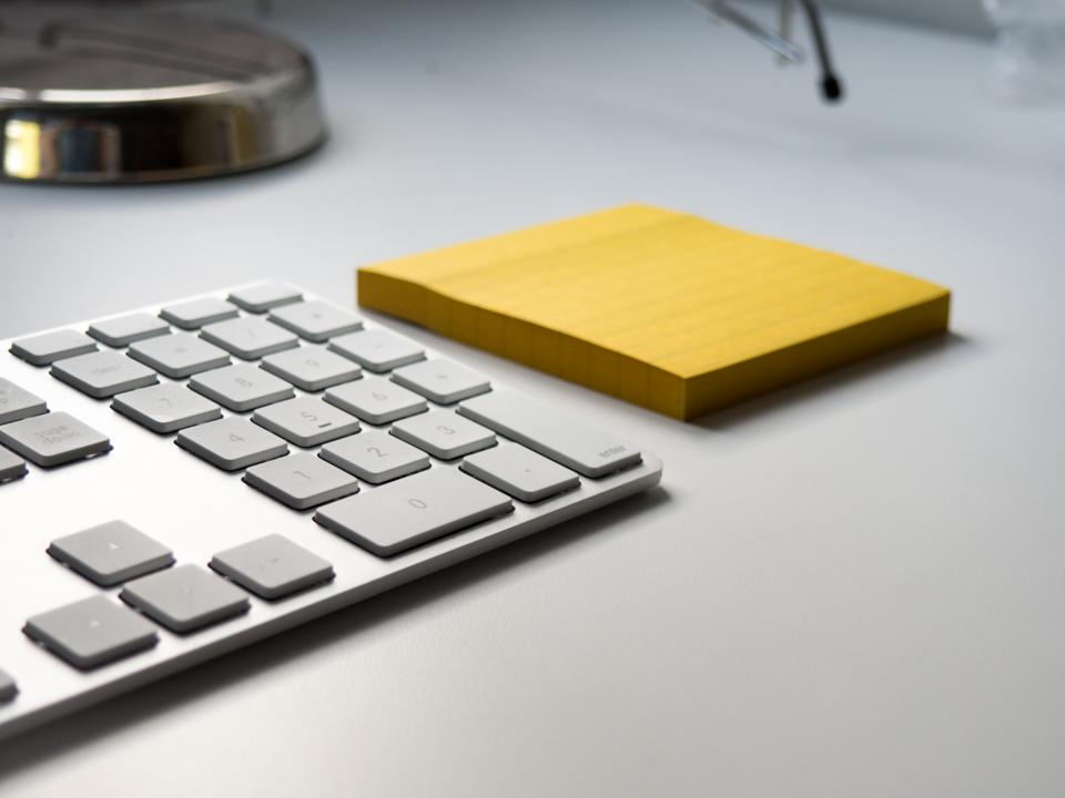 keyboard corporate office desk business work technology sticky notes