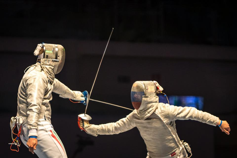athletic, sport, olympic, games, people, men, fencing, competition