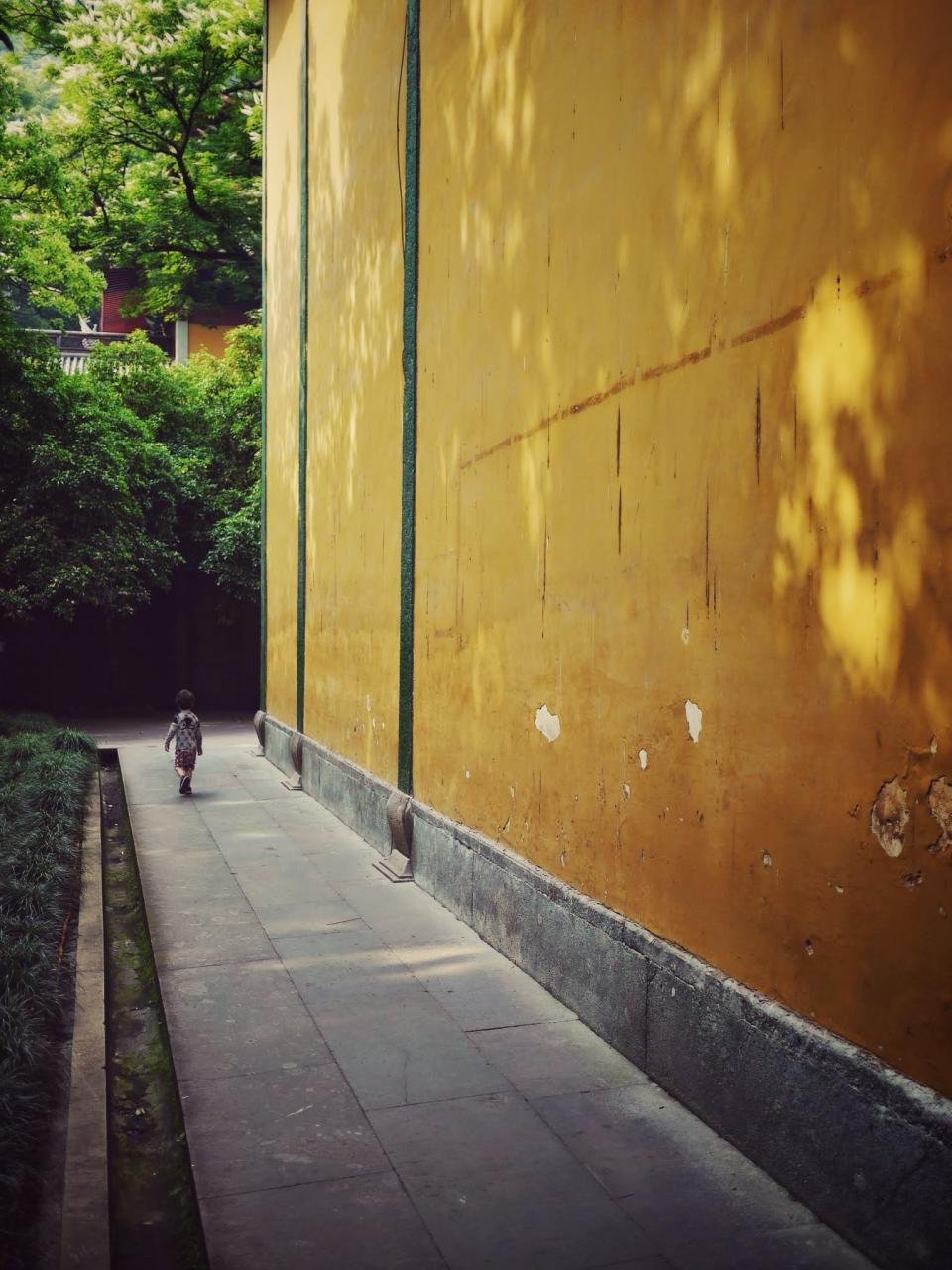 temple, wall, walk, baoy, china, yellow