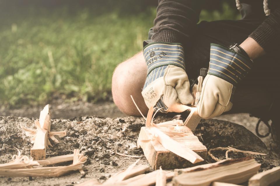 people, working, sculpture, outdoor, wood, hand, gloves