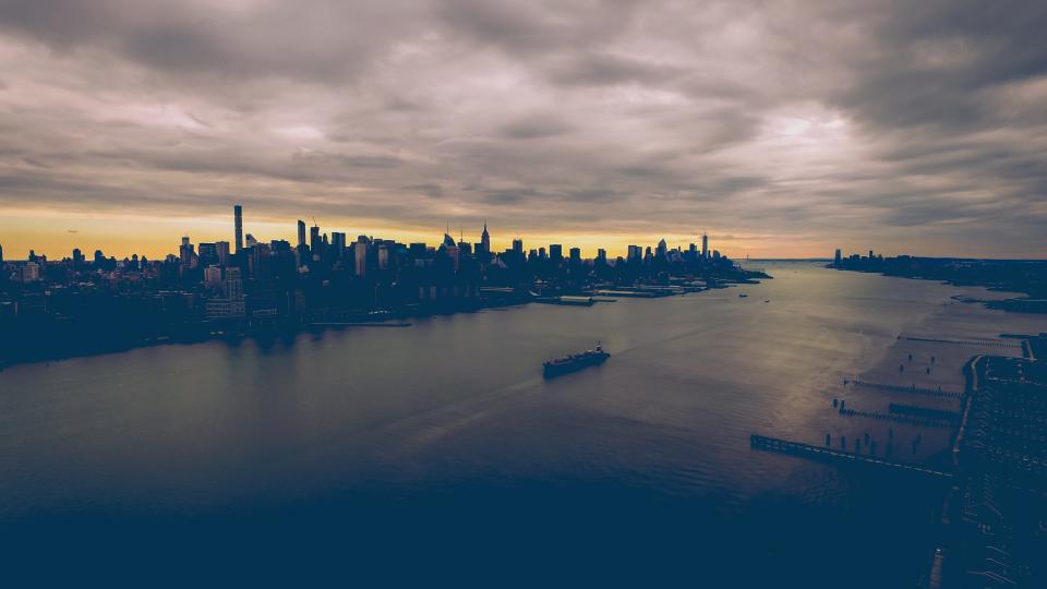 architecture building infrastructure dark cloud sea ocean water city urban