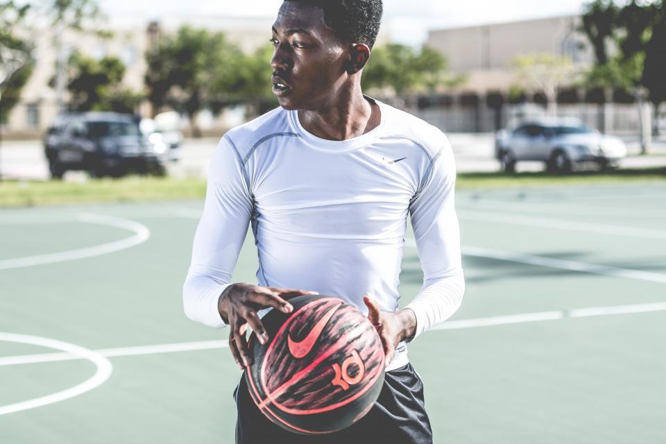 ball, nike, guy, man, player, field, black, african american, cars, trees, bokeh, grass, court, basketball, model, fashion