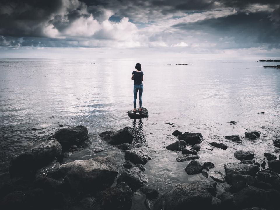 sea, ocean, rocks, coast, water, people, girl, alone, sad, dark, clouds, sky