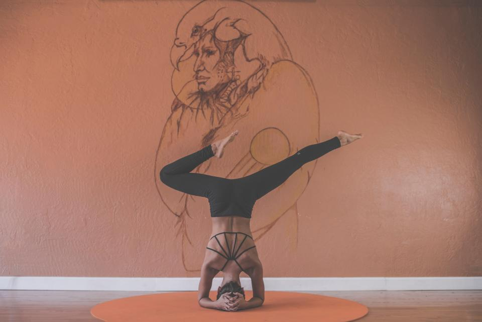yoga, pose, stretch, health, fitness, working out, exercise, girl, woman, people, mat, mural, wall, art