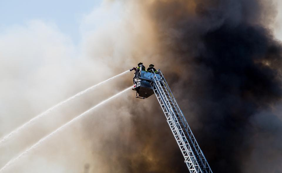firemen, crane, water, spray, dark, smoke