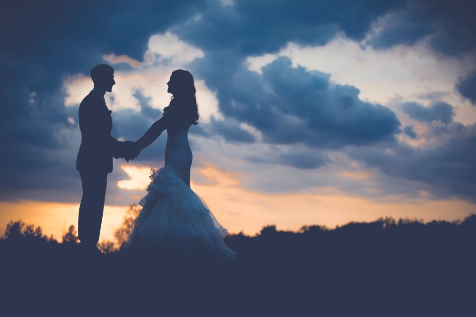 grass cloud sky dark sunset silhouette people couple man guy groom bride woman girl holding hands love wedding gown dress suit