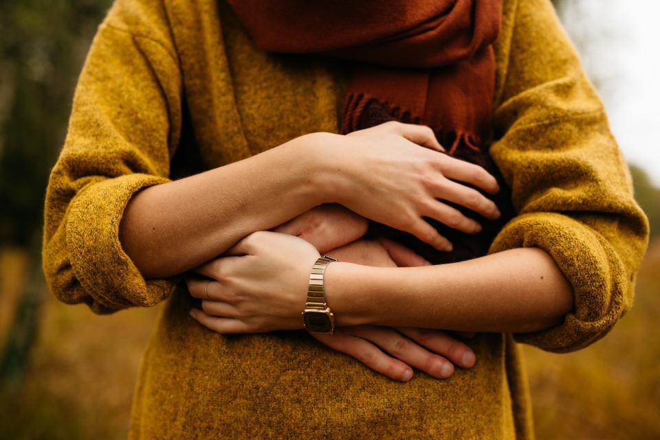 people girl hug embrace watch