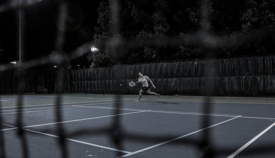 tennis, court, sport, game, play, people, man, night