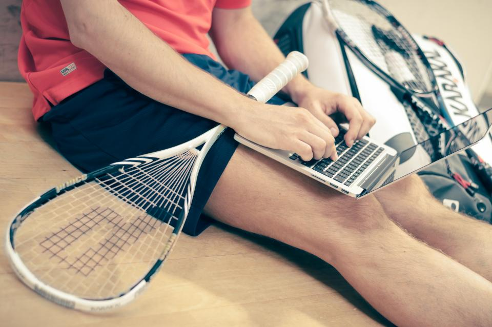tennis racket, sports, athlete, fitness, exercise, typing, working, business, macbook, laptop, technology