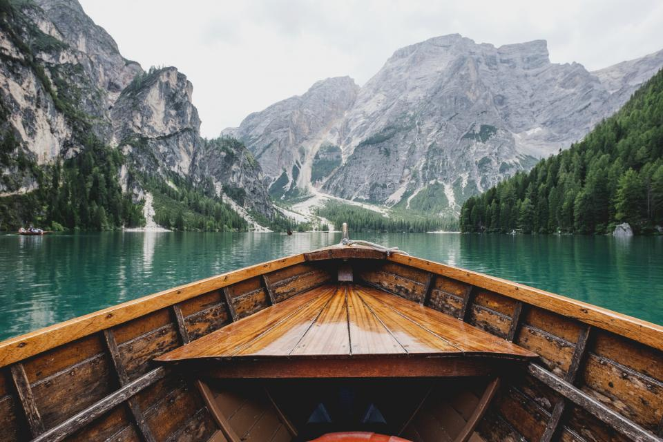 mountain, hill, valley, lake, water, nature, landscape, view, trees, sky, boat, sailing, adventure