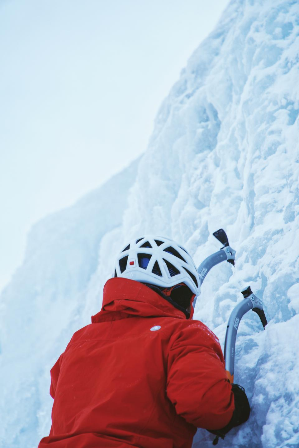 snow, winter, white, cold, weather, ice, nature, people, man, helmet, climb, mountaineer