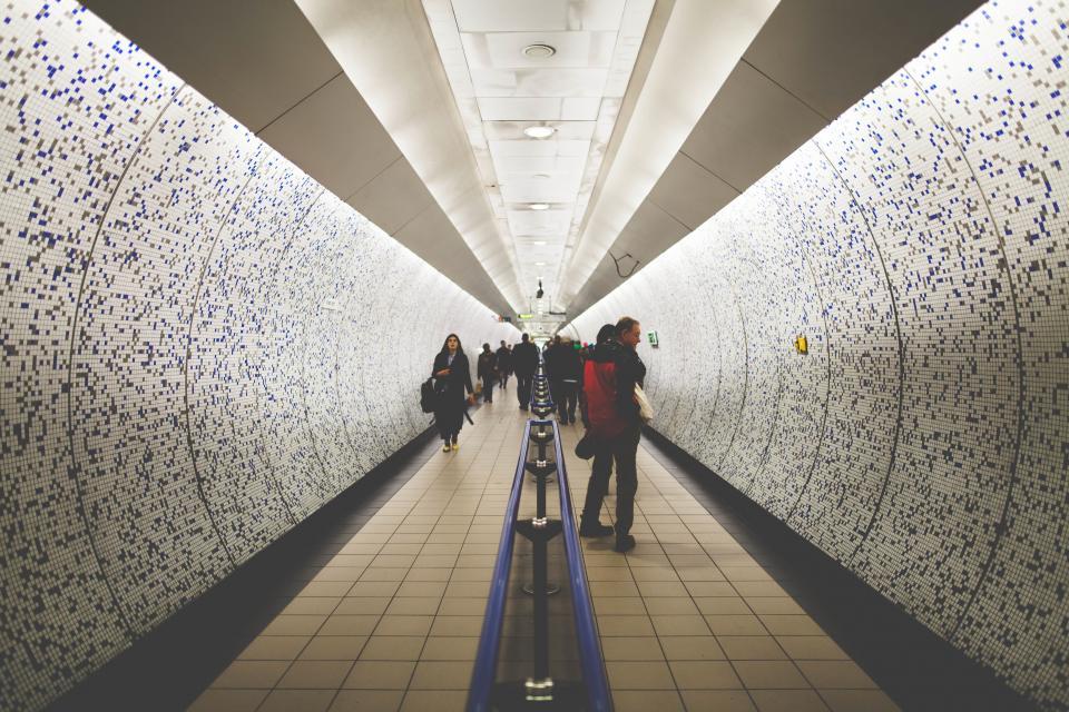 people, men, women, walking, tunnel, path, travel, lights, tourist, attraction, art
