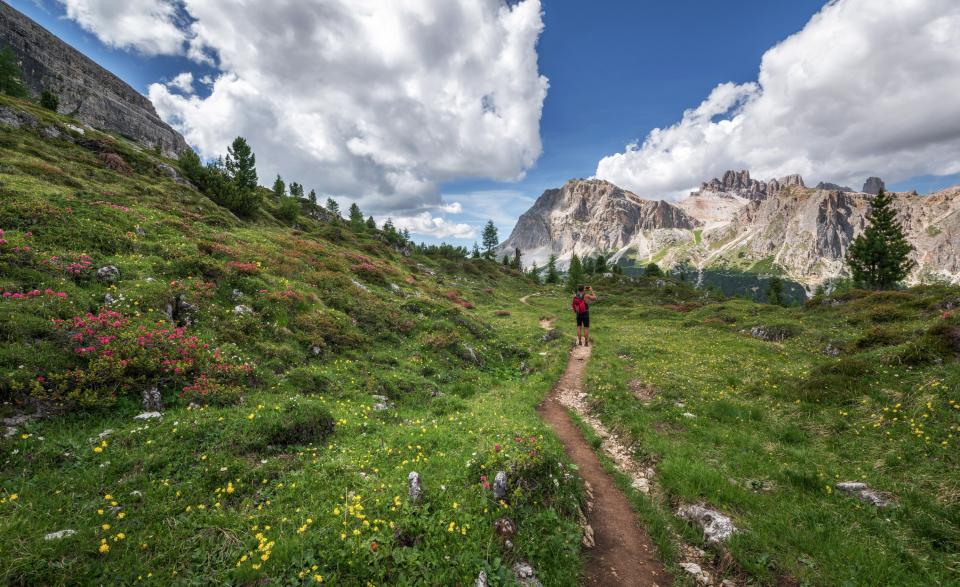 dolomites hiker landscape rock italy hiking alps nature travel valley view val gardena person summer outdoor looking vacation high clouds male path peak trail traveler backpacker italian beautiful edge young pe
