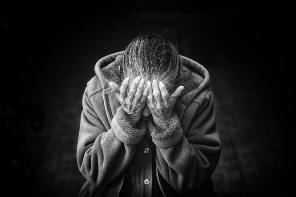 hands, people, old age, woman, hoodie, confused, thinking, alone, dark