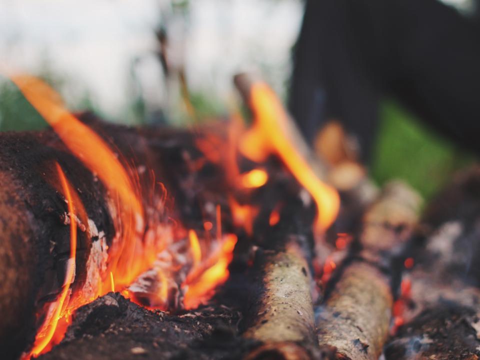 bonfire, fire, flames, wood, logs, camping