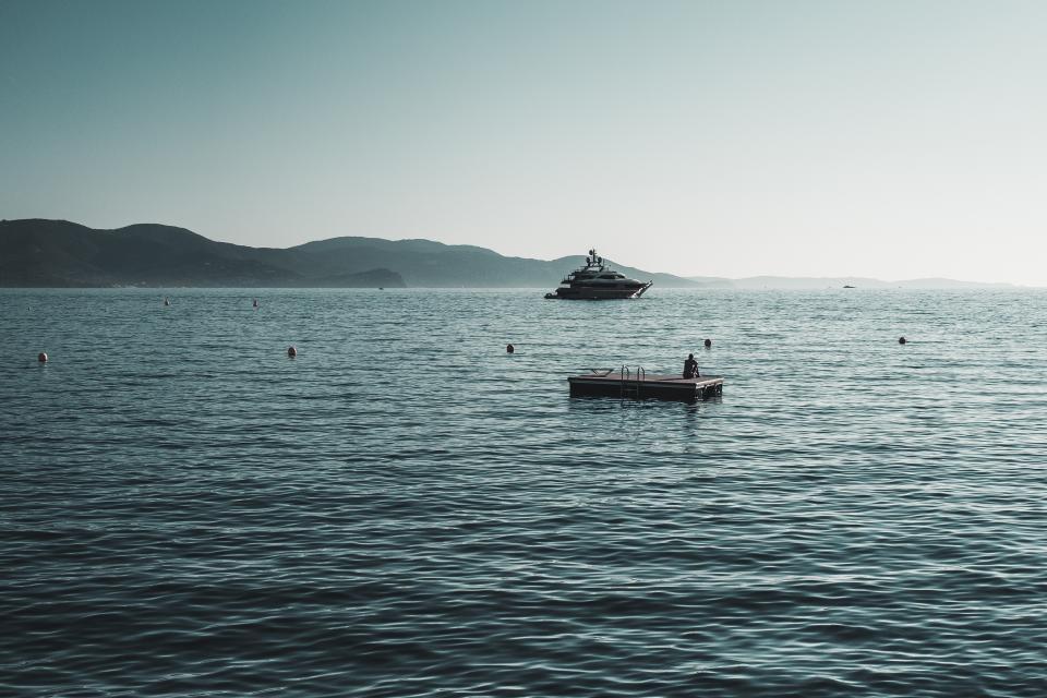 sea, ocean, water, waves, nature, horizon, mountain, landscape, view, boat, sailing, fishing, sky