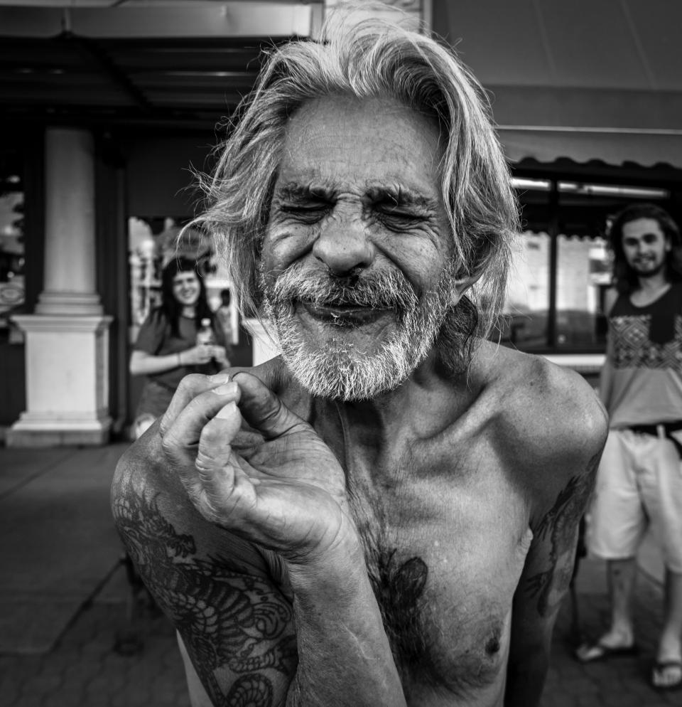 People old man black and white body tattoo smile