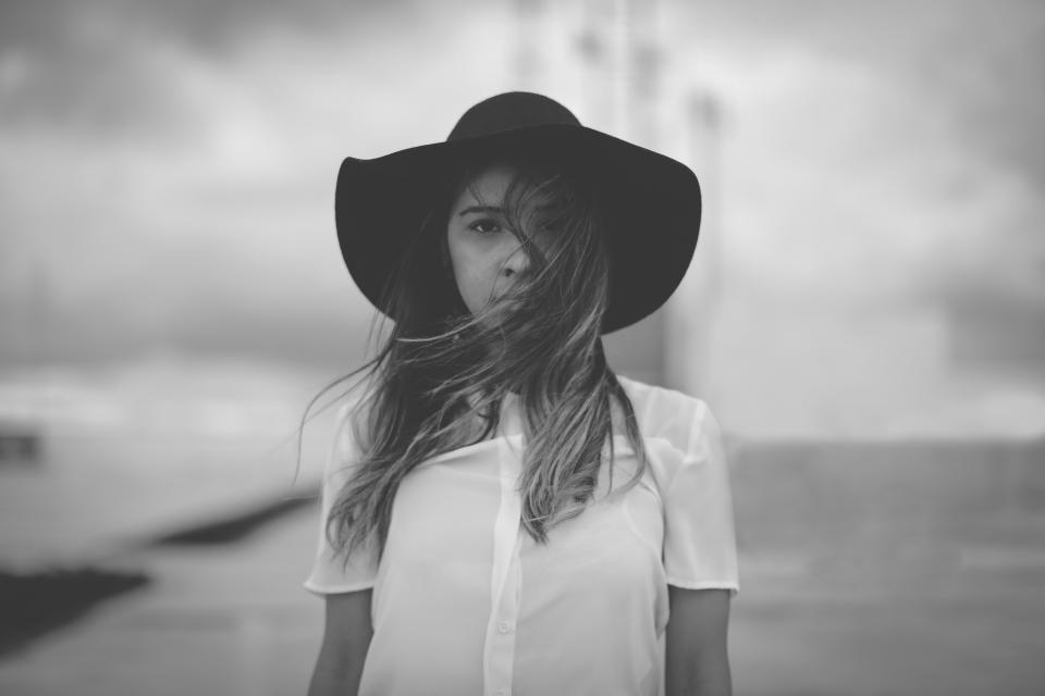 people girl woman alone hat fashion black and white