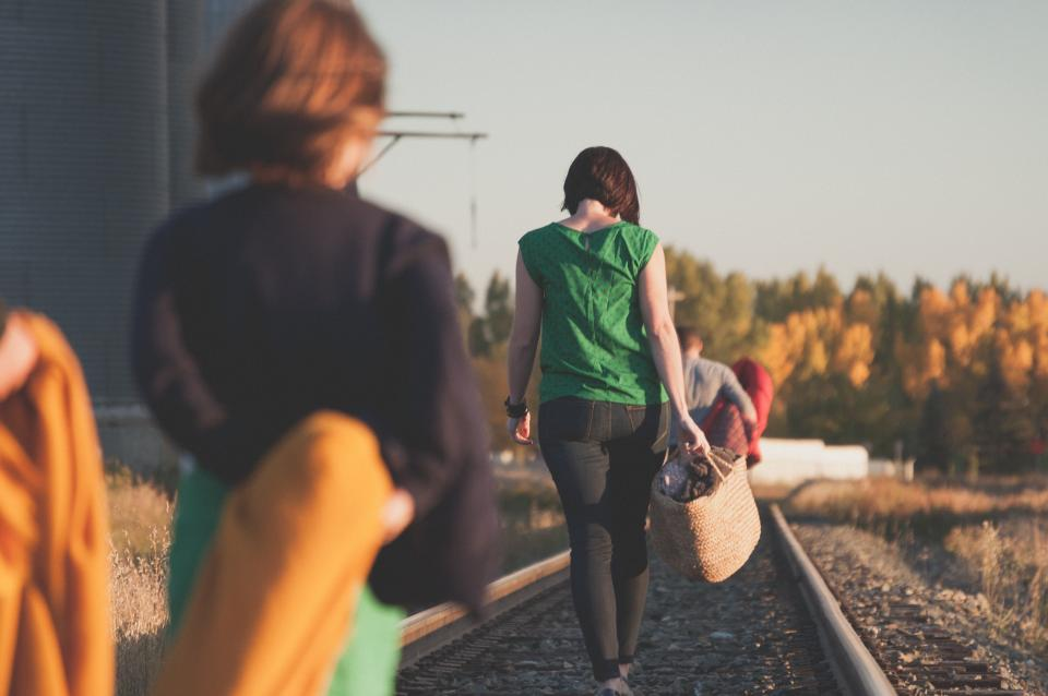 people, family, woman, mother, kids, girl, boy, travel, walking, outside, trees, plants, sky, autumn, grass, railway, track, basket, blanket