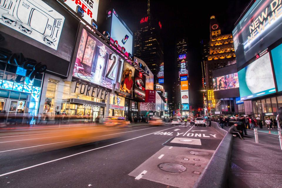 Times Square New York city NYC crowd busy traffic people pedestrians streets roads signs billboards buildings architecture urban lights cars vehicle