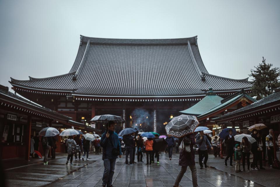 asian, people, women, girls, japanese, lantern, travel, trip, handbag, street, temple, umbrella, raining