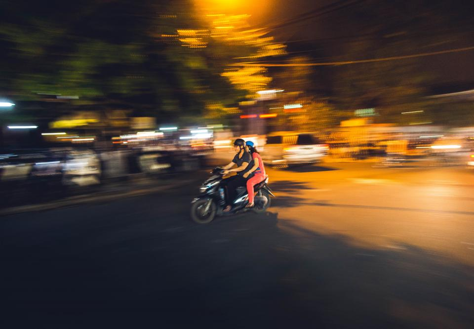dark, night, city, lights, blur, people, ride, motor, motorcycle, vehicle, travel, road, street