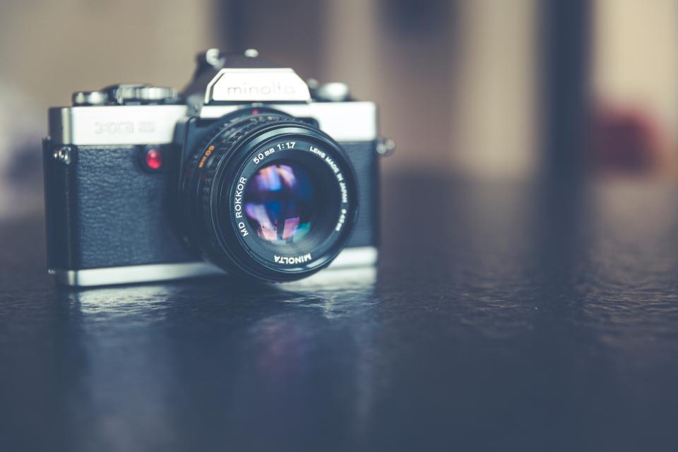 camera, photography, bokeh. lens, black, minolta, shutter, slr, shoot