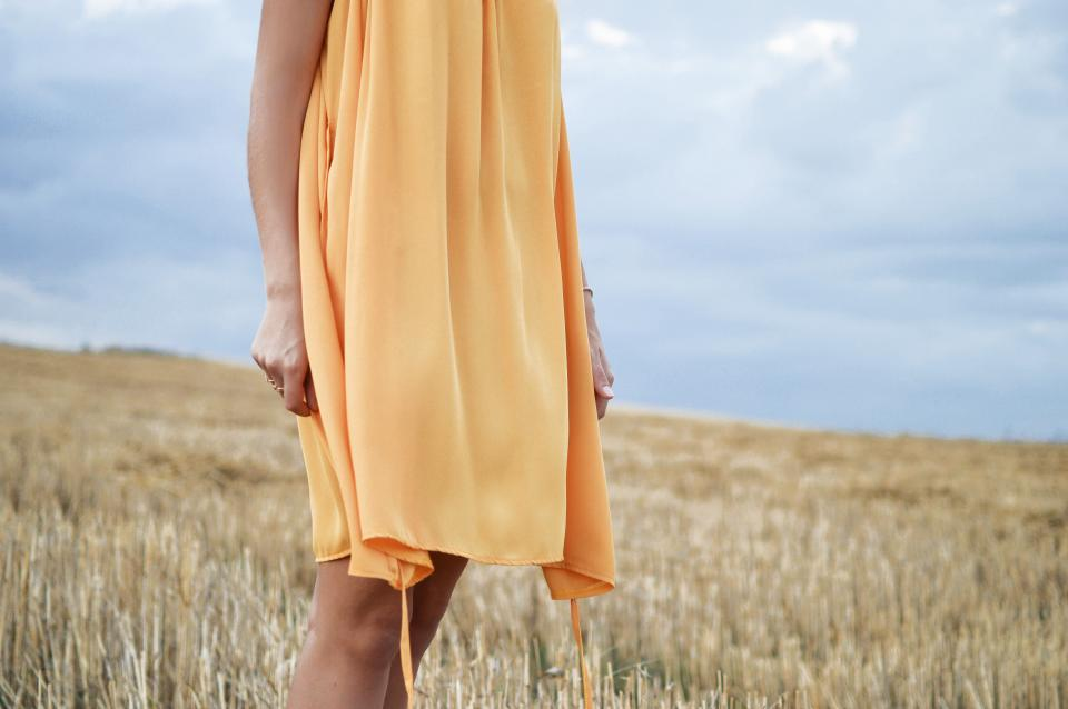girl people dress beauty yellow fashion grass sky