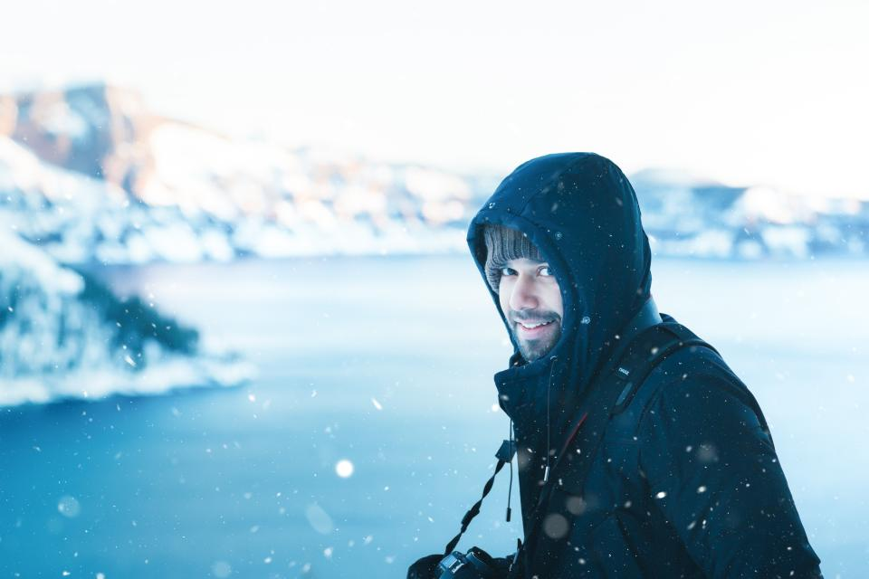 people, man, smile, happy, camera, photographer, photography, snow, winter, cold, hoodie, jacket, blur
