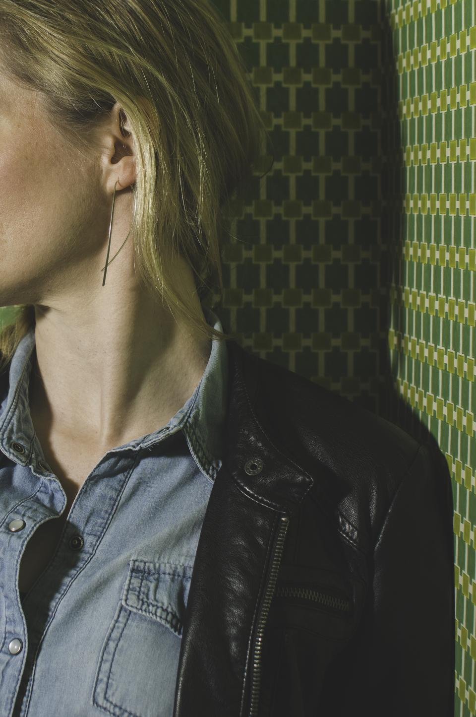denim, polo, leather, people, woman, neck, blonde, fashion