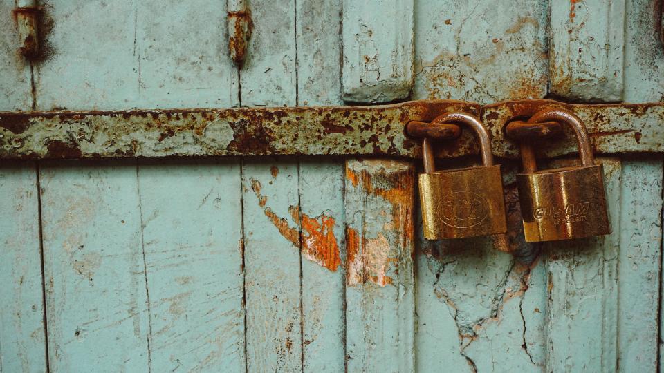 wall, steel, metal, lock, rust