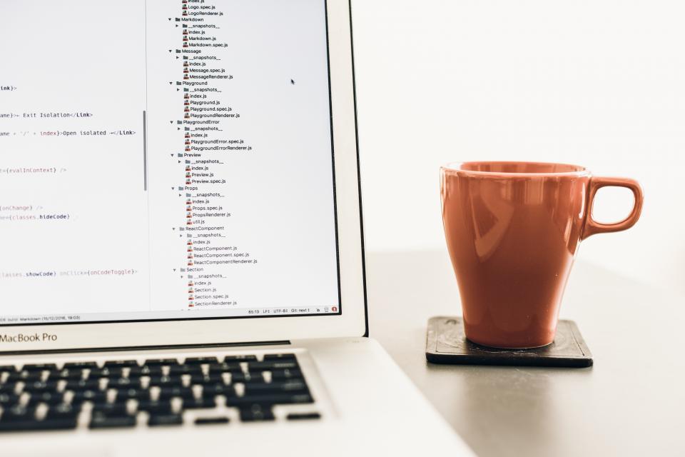 cup coffee macbook laptop apple work office table morning breakfast keyboard business