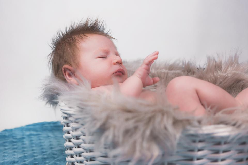 child, baby, infant, people, arms, feet, legs, cute, adorable, basket, fur, bokeh, white, flesh