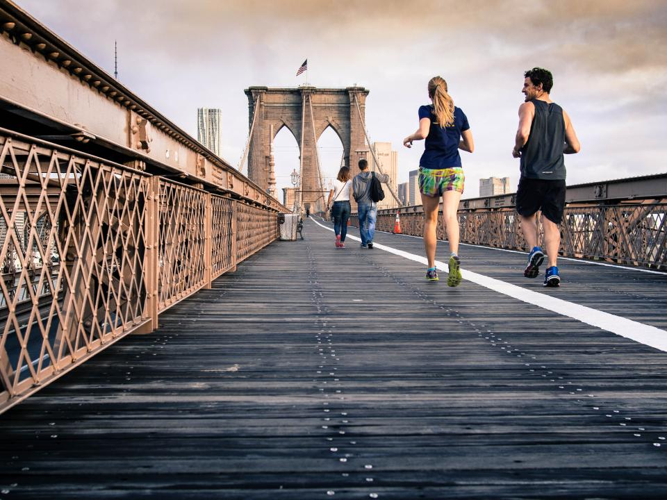Brookly bridge, running, jogging, fitness, exercise, people, guy, girl, man, woman, architecture, health
