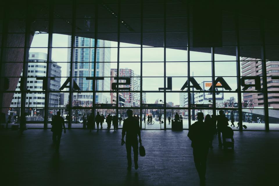 train station, transportation, travel, trip, people, crowd, windows, buildings, city, urban