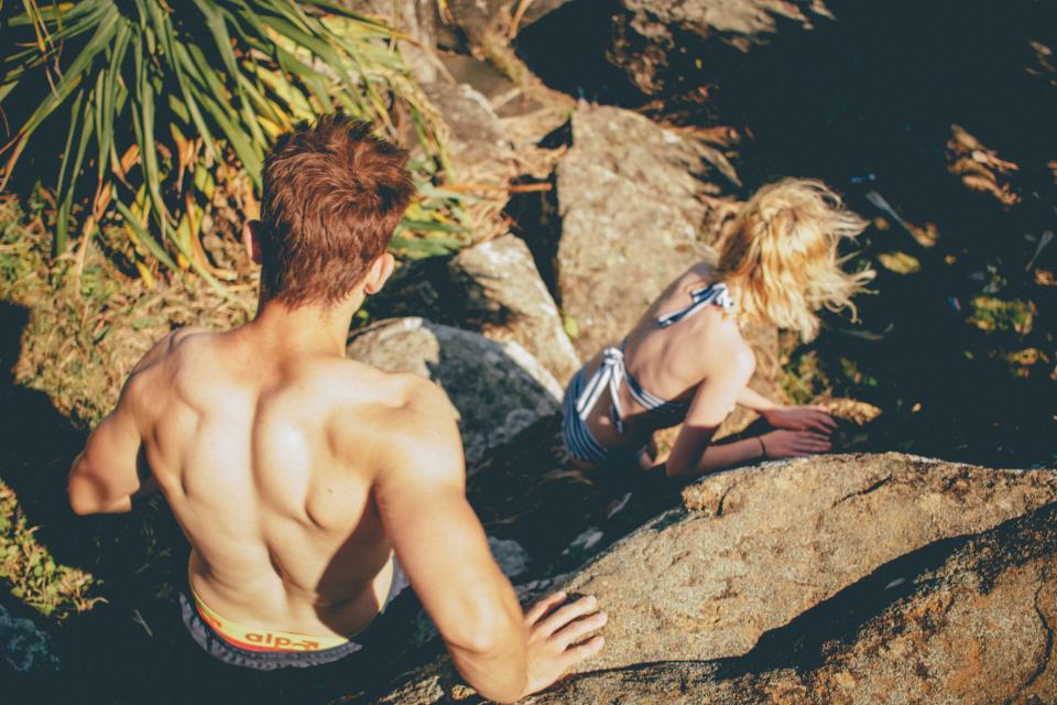 guy, girl, climbing, hiking, trekking, fitness, exercise, people, rocks, swimsuits, bikini, muscles, sunshine, summer, friends, health