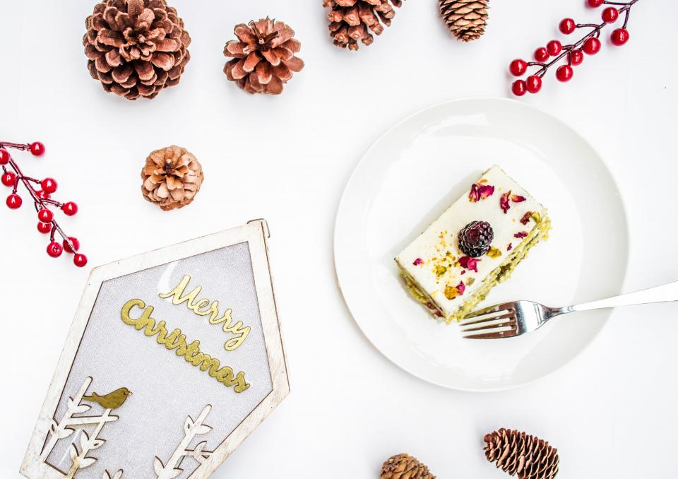 food, dessert, table, bake, cake, cookie, biscuits, peanut, pine cone, cherry, christmas, white, holiday, plate