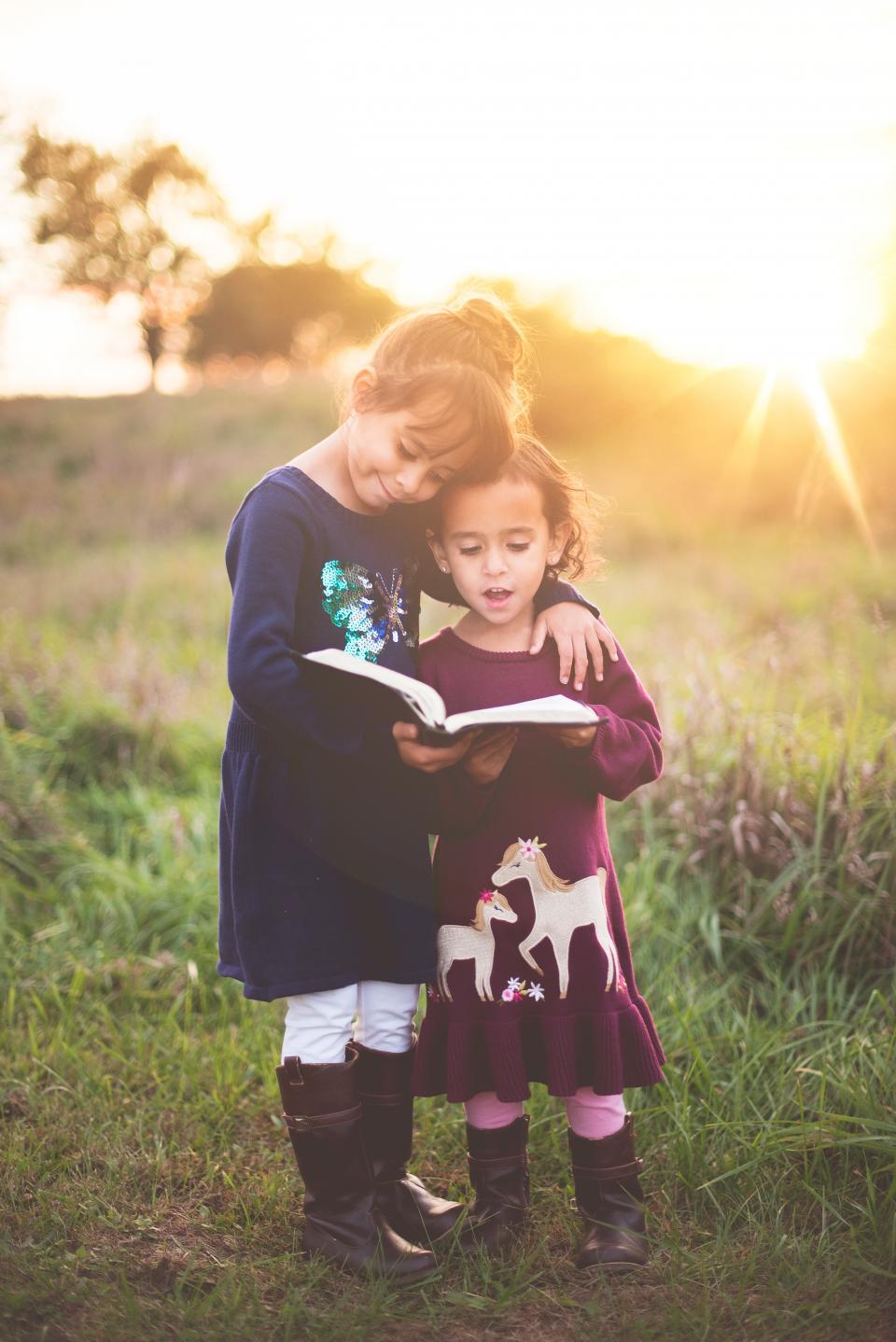 sunlight, sunshine, sunset, sunrise, sunny, grass, tree, nature, kids, girls, people, children, reading, book, bible, sky