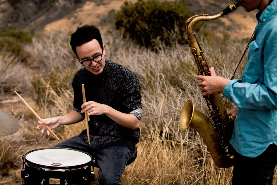 people men guys group band friends musicians drums saxophone