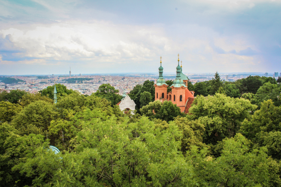landscape trees synagoge view prague sky clouds green nature