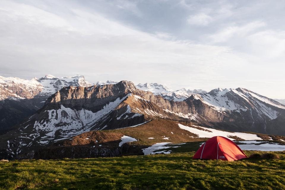 mountain, snow, winter, cold, green, grass, tent, adventure, outdoor, climbing, hiking, camping, sky, landscape, nature