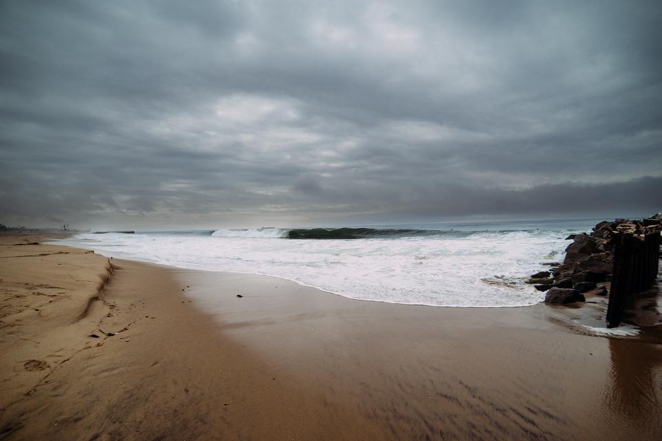 beach, storm, cloudy, clouds, sand, ocean, sea, waves, water
