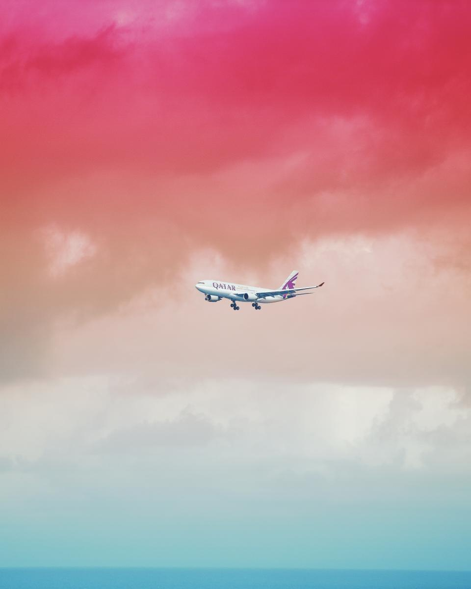 airplane, travel, adventure, plane, vacation, trip, transportation, vehicle, clouds, sky, qatar